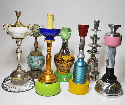 GIOVANNA SCAFURO - candelabri realizzati con l'assemblaggio di vecchi oggetti da tavola e non