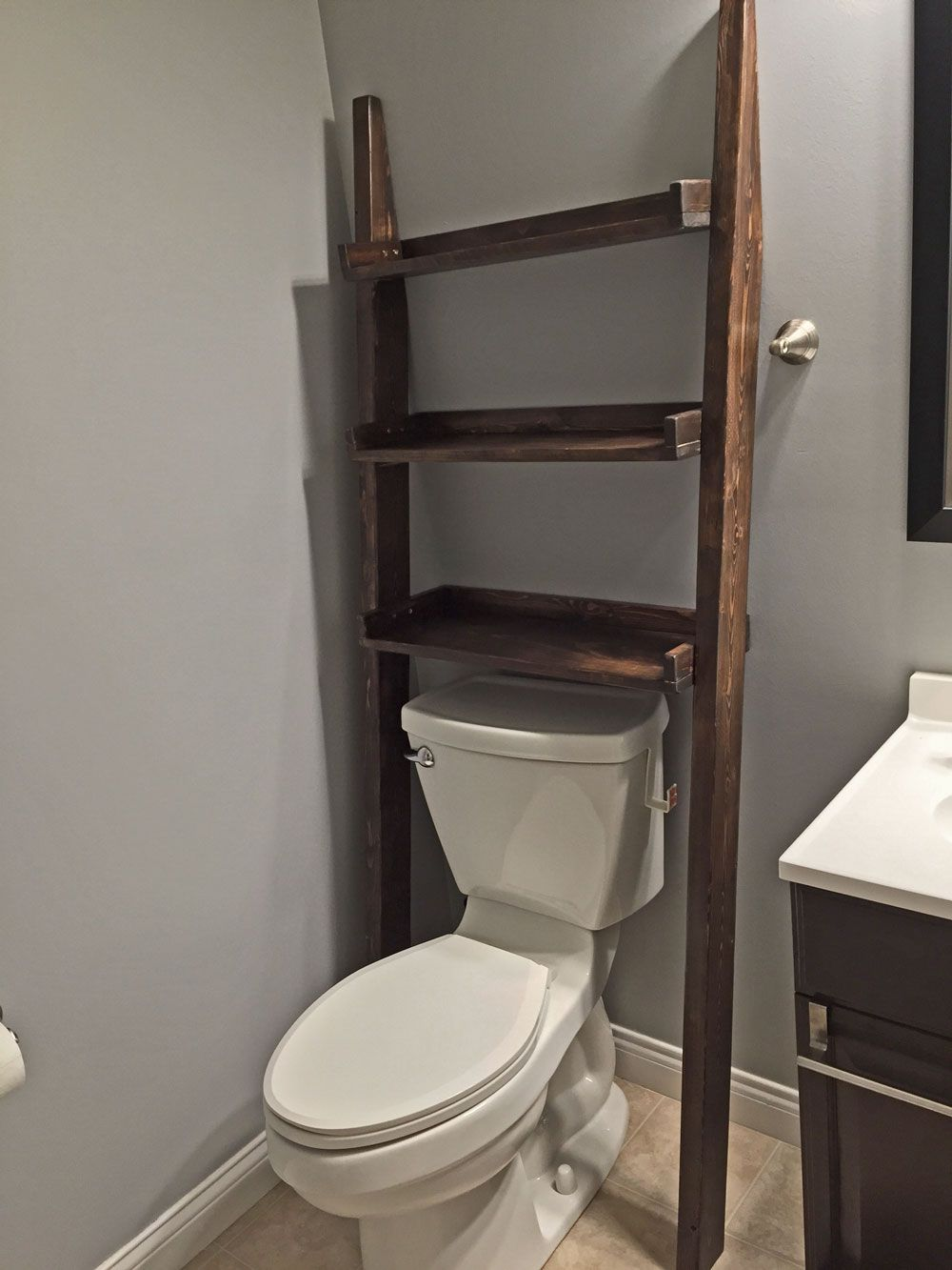 Leaning Bathroom Ladder Shelf Diy Projects