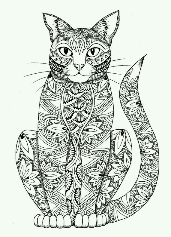 Sitting Cat Adult Colouring Page