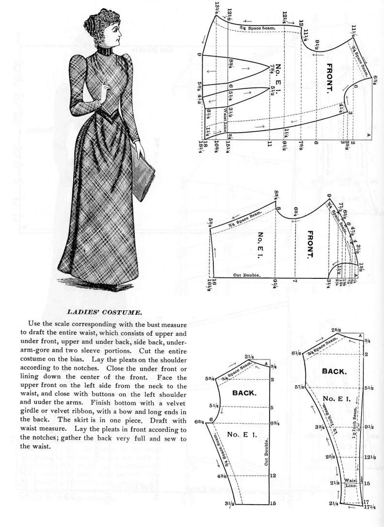 Pattern for an 1890s Woman's Dress with a One Piece Skirt