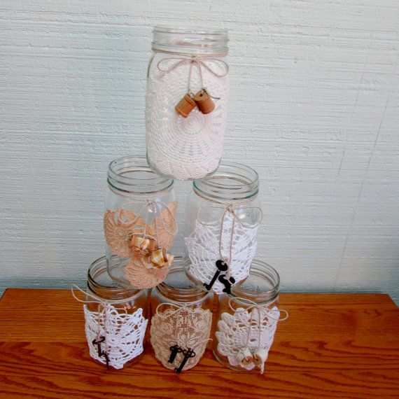 Crocheted Doily Mason Jars Embellished with Keys by musiqueetprose, $15.00