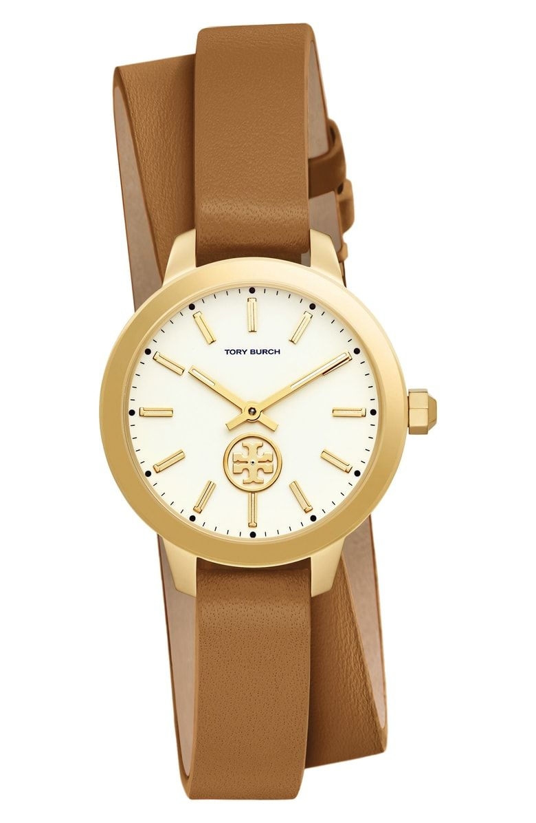 dacb17225 Free shipping and returns on Tory Burch Collins Double Wrap Leather Strap  Watch, 32mm at
