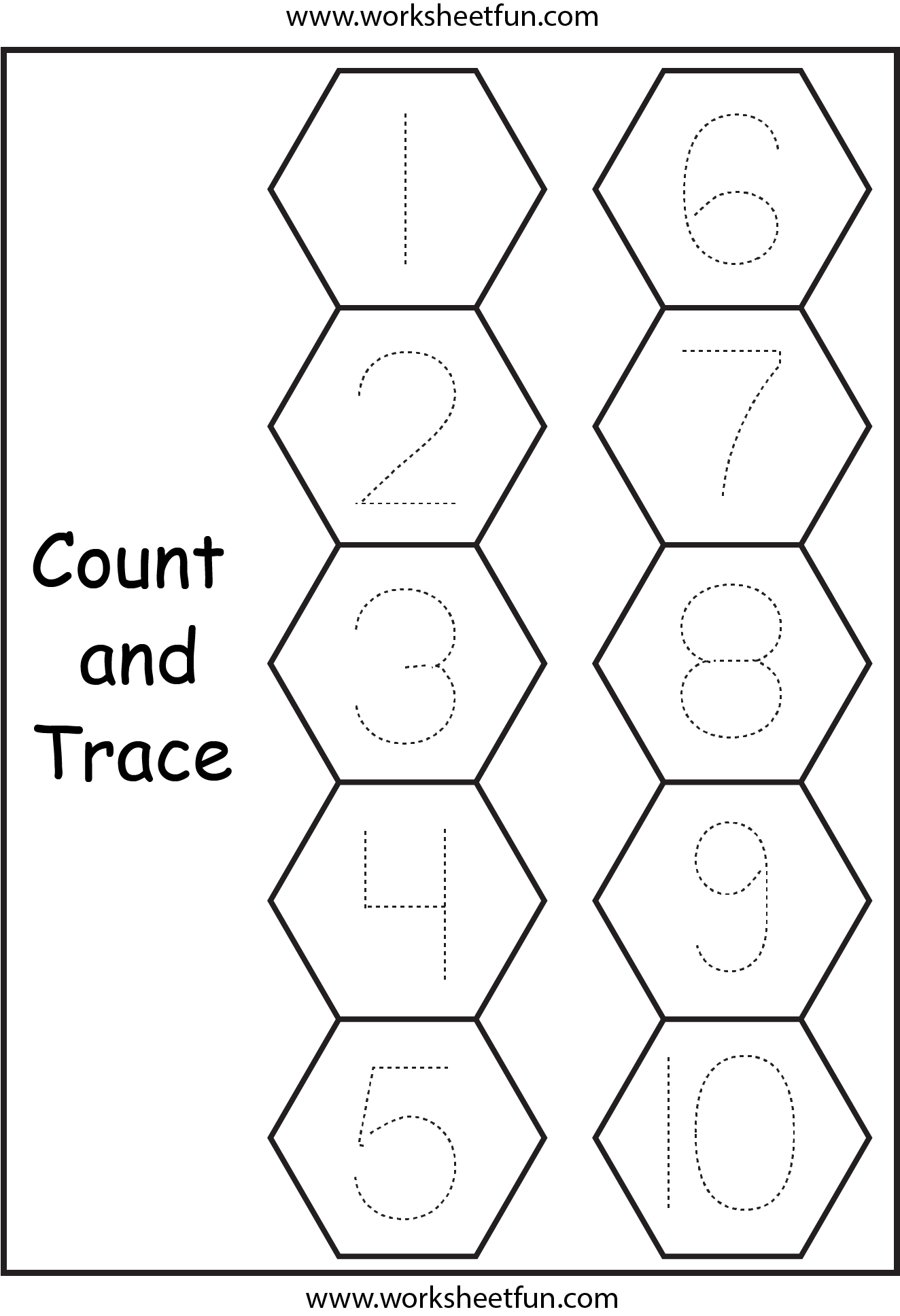 Number Tracing 1 Worksheet