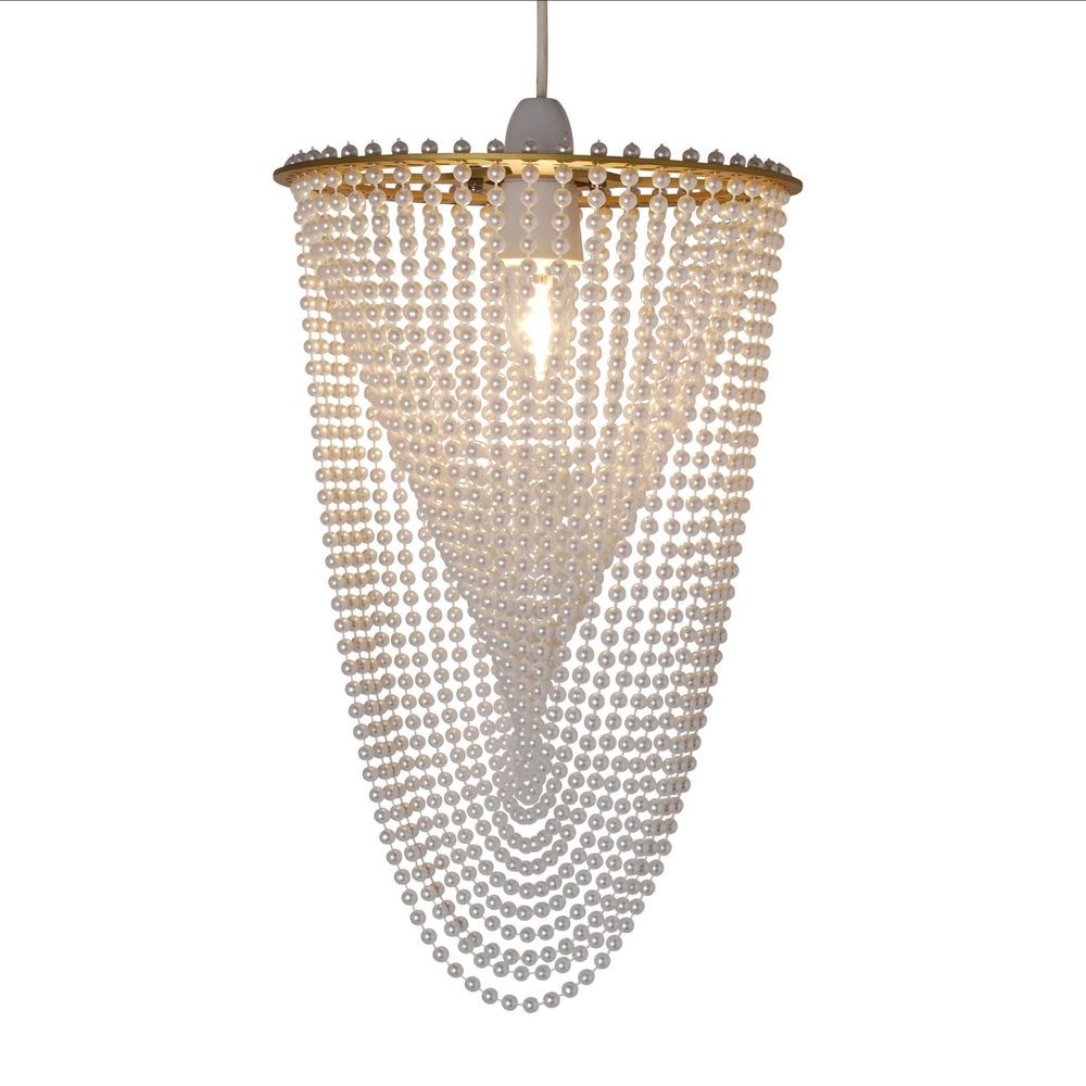 Classic modern beaded gold and pearl non electric pendant ceiling classic modern beaded gold and pearl non electric pendant ceiling light shade aloadofball Image collections