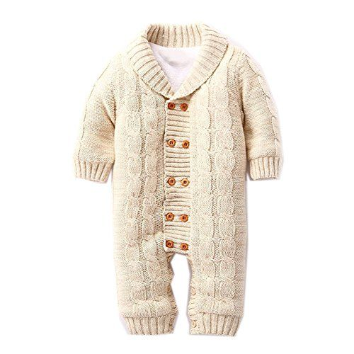 Newborn Baby Girls Clothes Cable Knit Sweater Romper One-Piece Sweater JumpsuitPlaysuit