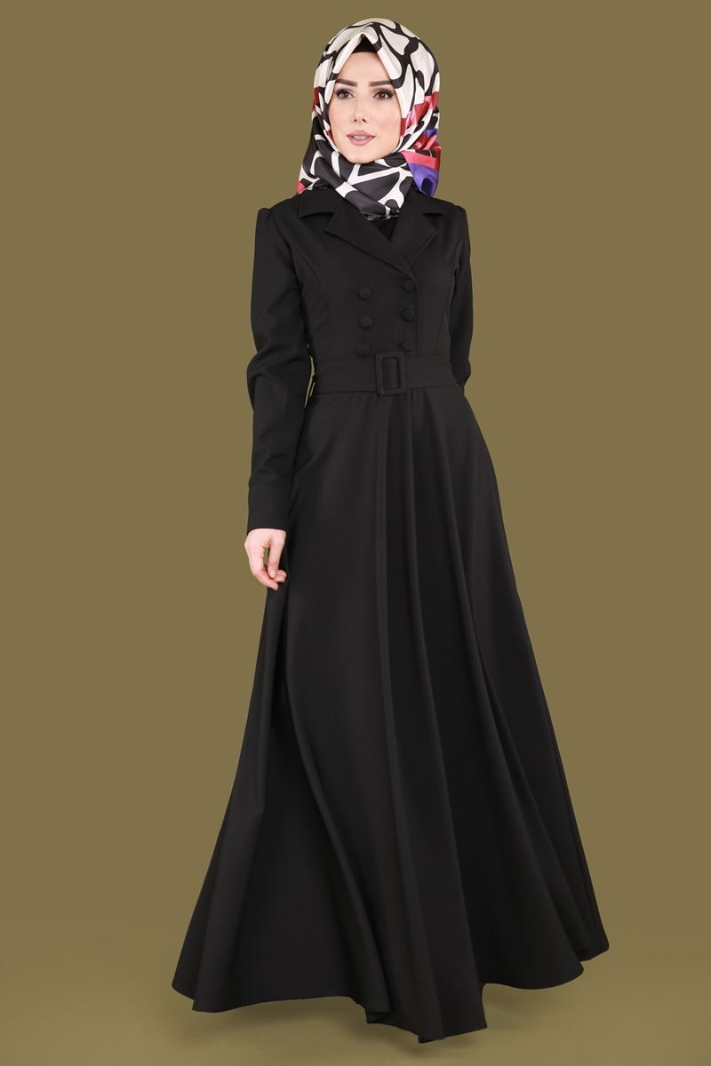 Yeni Urun Ceket Yaka Tesettur Elbise Siyah Urun Kodu Brn81501 149 90 Tl Gowns Of Elegance Abaya Fashion Abaya Dress