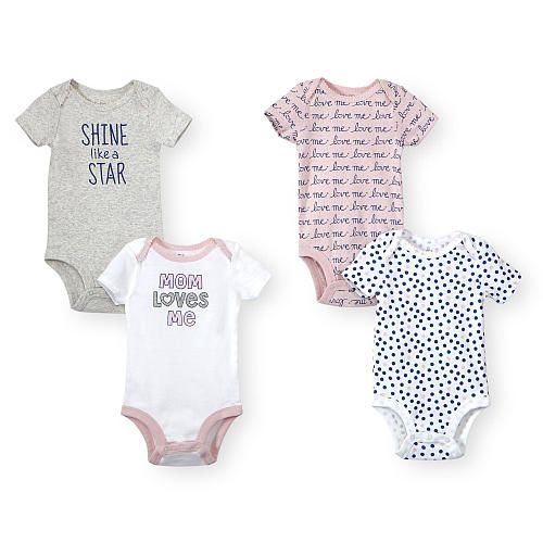 "Add some sweet style to her wardrobe with the Koala Baby Girls ""Mom Loves Me"" 4 Pack Pink/Grey Short Sleeve Bodysuits, exclusively from Babies'R'Us! Set includes 4 printed bodysuits featuring cute sayings and graphics.<br><br>The Koala Baby Girls ""Mom Loves Me"" 4 Pack Pink/Grey Short Sleeve Bodysuits features: <br><ul><li>Includes 4 bodysuits,</li><br><li>1 grey ""Shine like a Star""</li><br><li>1 pink with blue cursive ""love me"" repeated line by line separated by dainty hearts</li><br><li>1…"