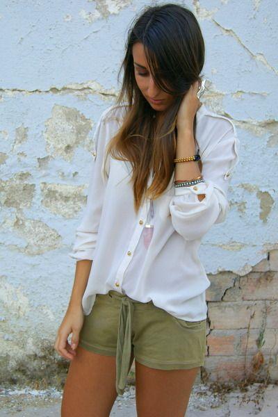 cream Zara shirt - olive green Zara shorts