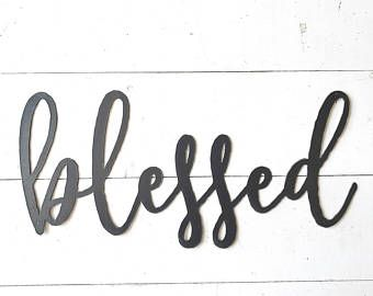 Metal Sign Wall Decor Impressive Blessed Metal Sign  Metal Wall Art  Blessed Sign  Metal Words Design Decoration