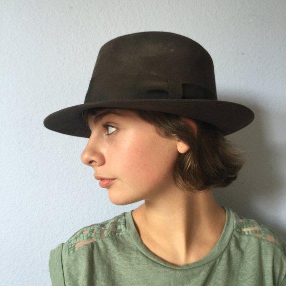 340473440a030 Vintage Hat and Box Hatbox Royal Stetson Fedora - Indiana Jones Dark Brown
