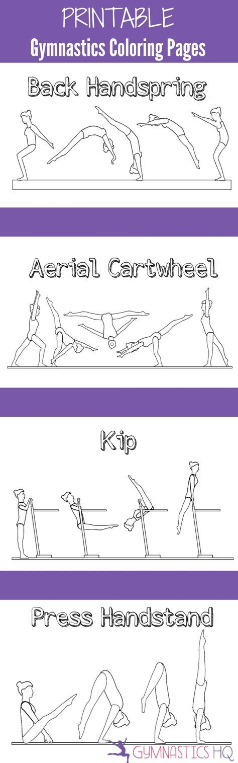 Printable Gymnastics Coloring Pages 5 Pages Of Gymnastics Skills To Color Easy Yoga Workouts Step Workout Gymnastics Workout