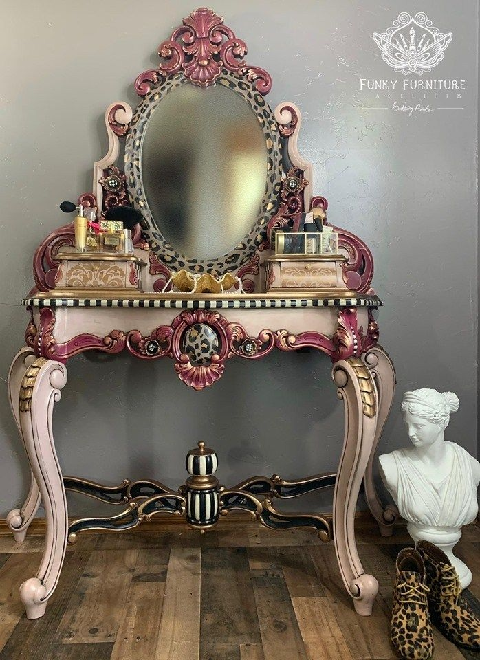 Antique, Hand Carved Vanity with Matching Stool