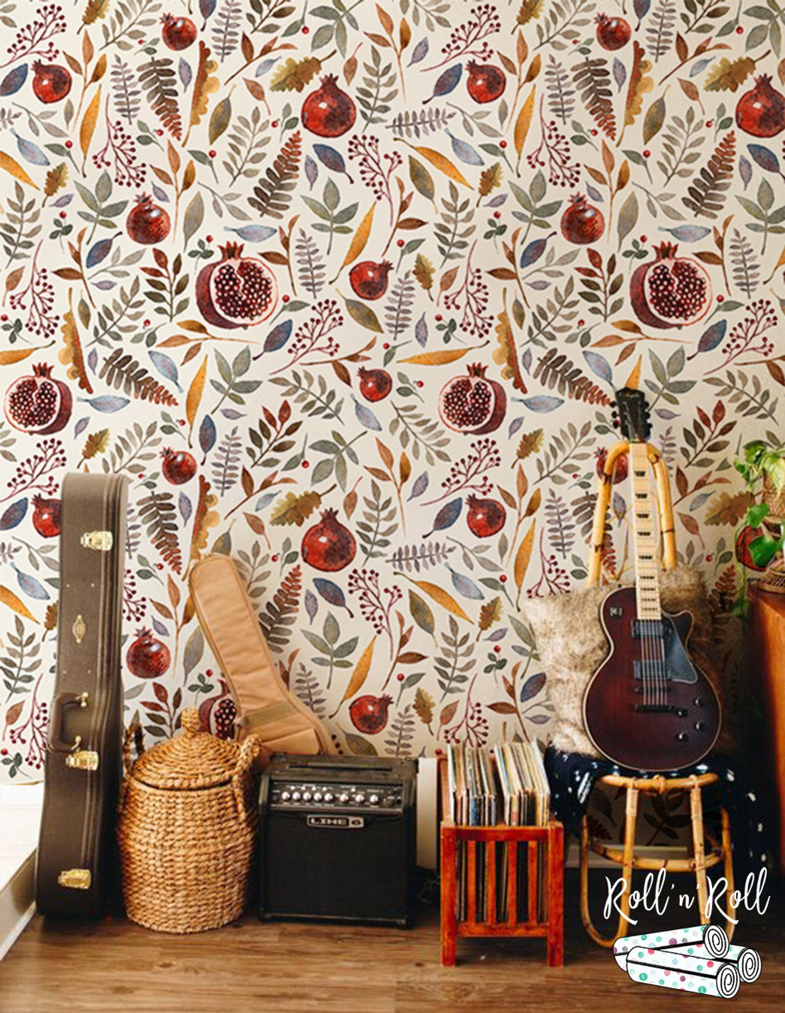 Floral And Fruit Removable Wallpaper Vintage Watercolor Wall Mural Wallpaper Roll Self Adhesive Paper Wallpaper Pattern Wallpaper 22 Removable Wallpaper Paper Wallpaper Watercolor Walls