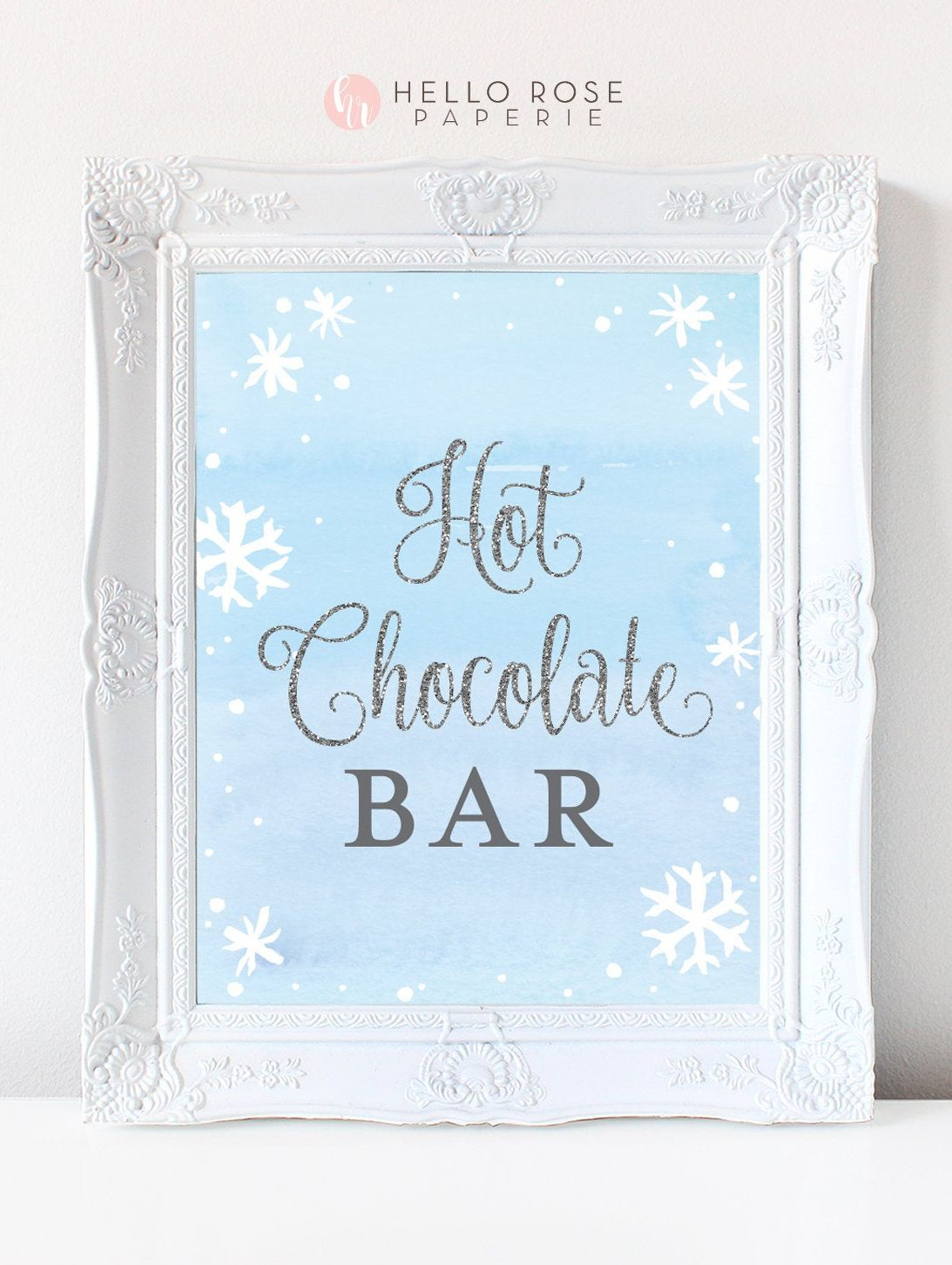 Hot Chocolate Bar Printable Sign . Baby its Cold Outside Winter Snowflakes Baby Shower Boy . Blue and Silver Glitter . Instant Download #hotchocolatebar
