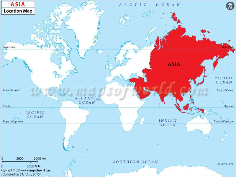 Location Of Asia In World Map.Asia Map Map Showing Location Of Asia In The World Asia Maps
