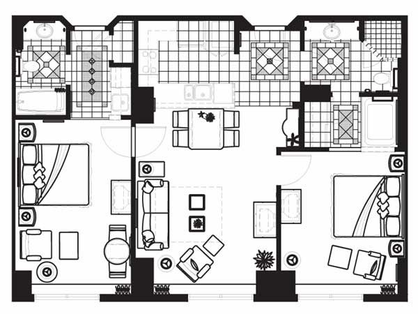 Superior Three Bedroom Suite Floor Plan For Hilton Grand Vacations On The Las Vegas  Strip
