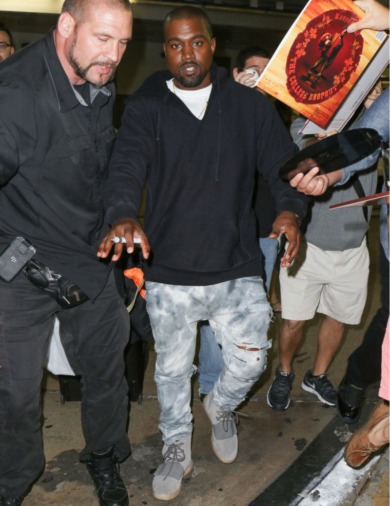 Kanye West Wearing the Grey/Gum adidas Yeezy 750 Boost