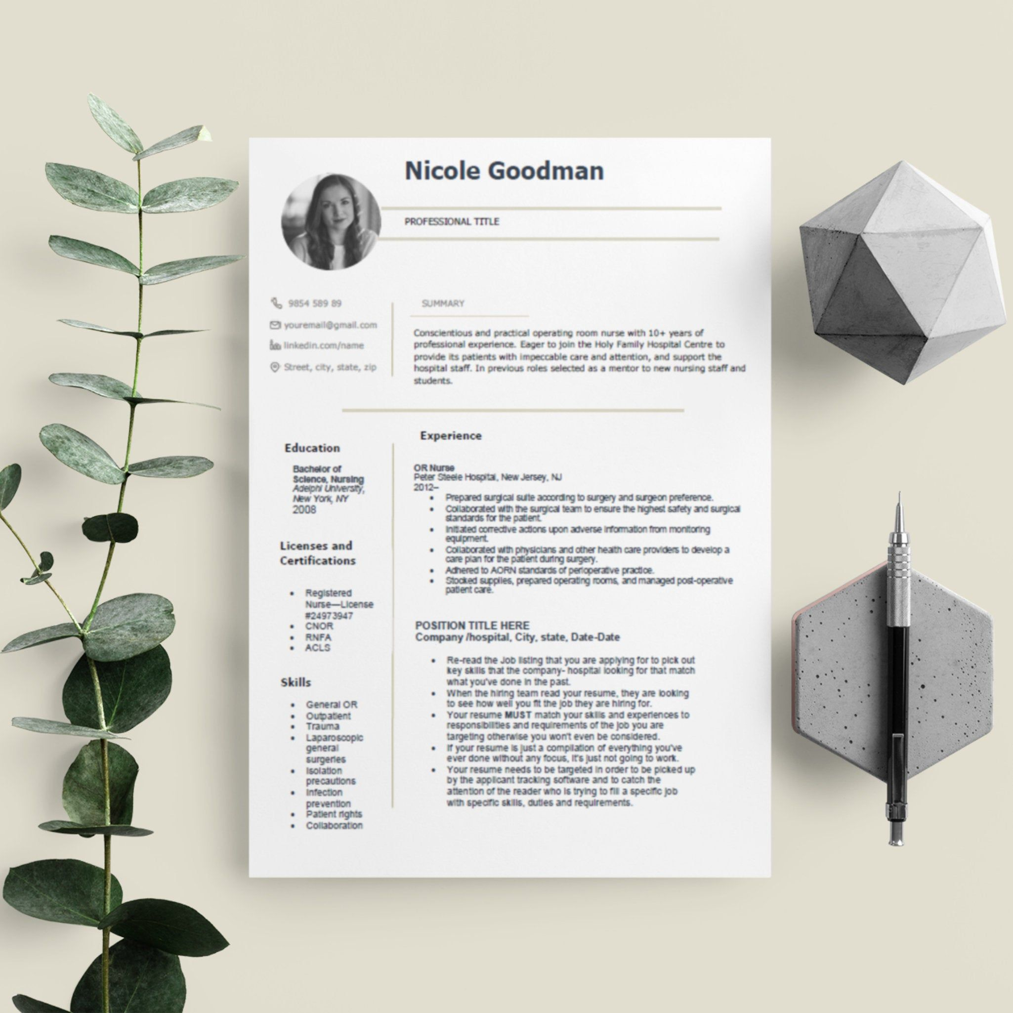 Best Registered Nurse Resume Template for Word / Nursing