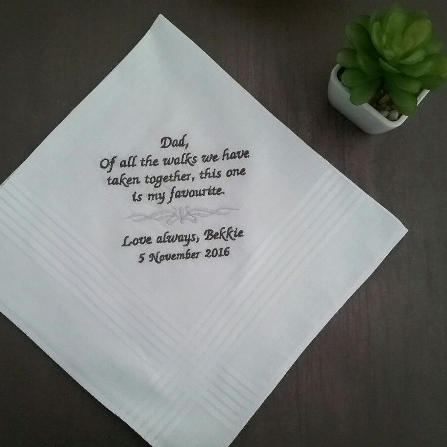 Wedding Handkerchief For Parents Personalised Gift Embroidered Hanky