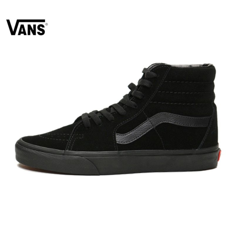 Vans Sk8-Hi - Boys Classic Skateboarding Black Red Sneakers ...