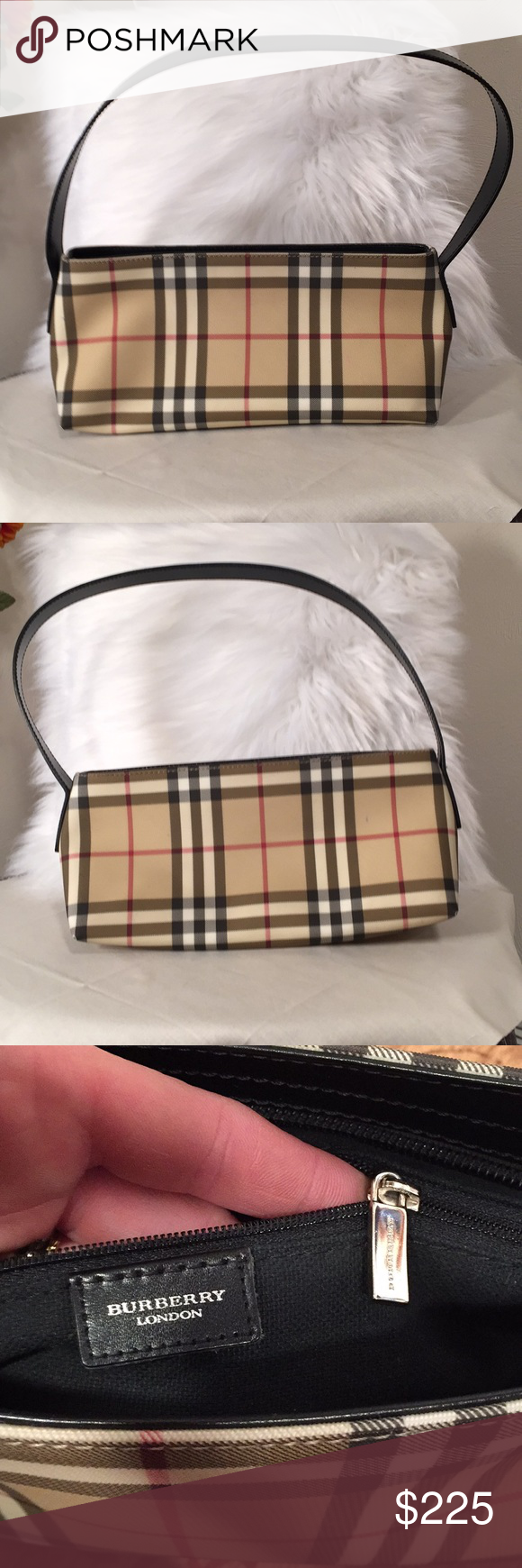 dbdad0cbdf68 Authentic Burberry purse! Beautiful genuine Burberry purse! Measures 12  inches wide at widest point and 5.5 inches high. It s 4 inches deep.