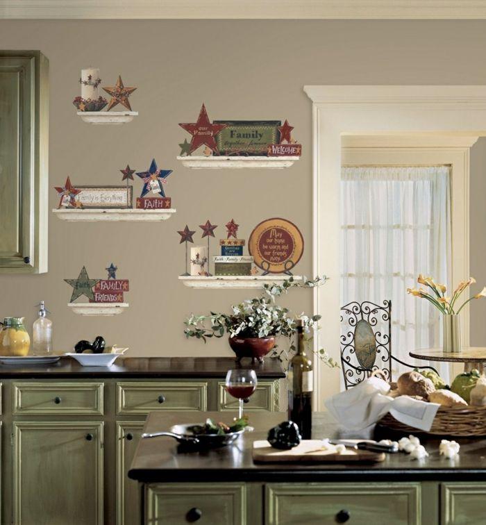 Küche Wandgestaltung Wandsticker Grüne Küchenschränke
