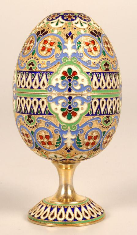 Antique Russian Cloisonn 233 Enamel Easter Egg By Moscow S