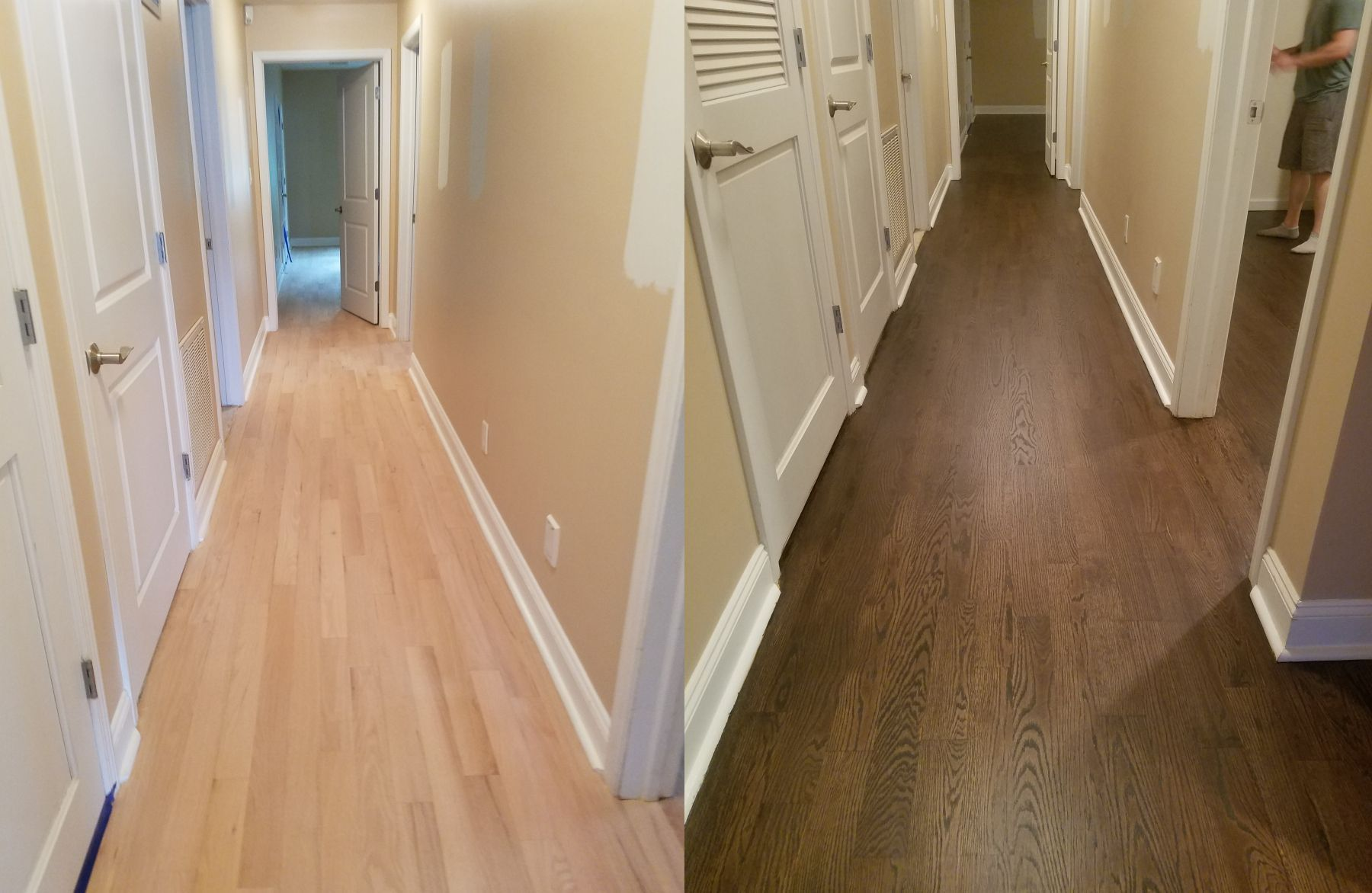 Before After Red Oak Floors With Minwax Jacobean Stain And Four Coats Of Water Based Polyurethane With A Satin Fi Floor Colors Oak Wood Floors Red Oak Floors
