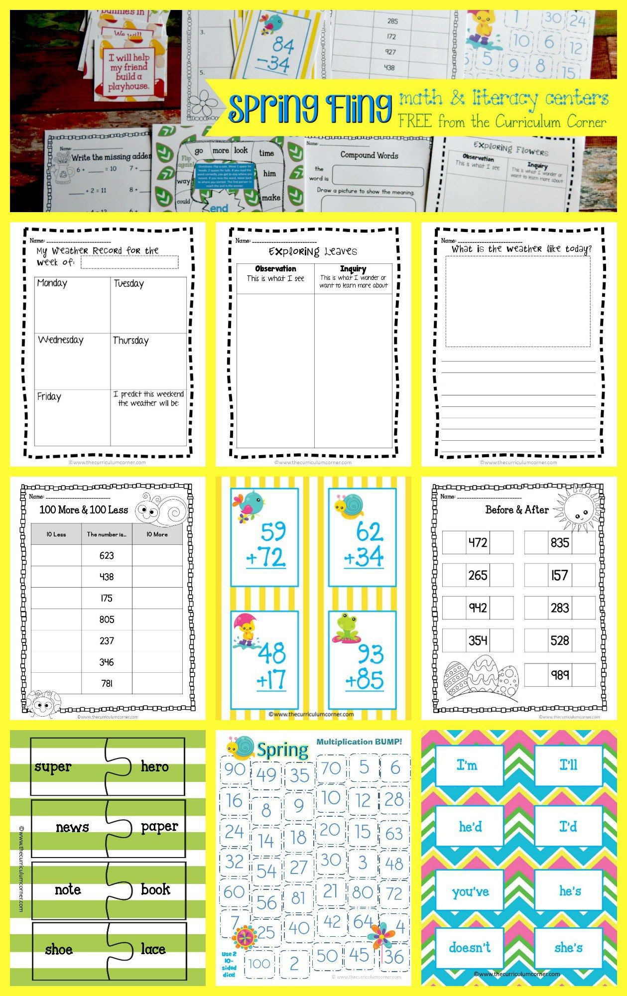 Spring Fling Math Amp Literacy Centers