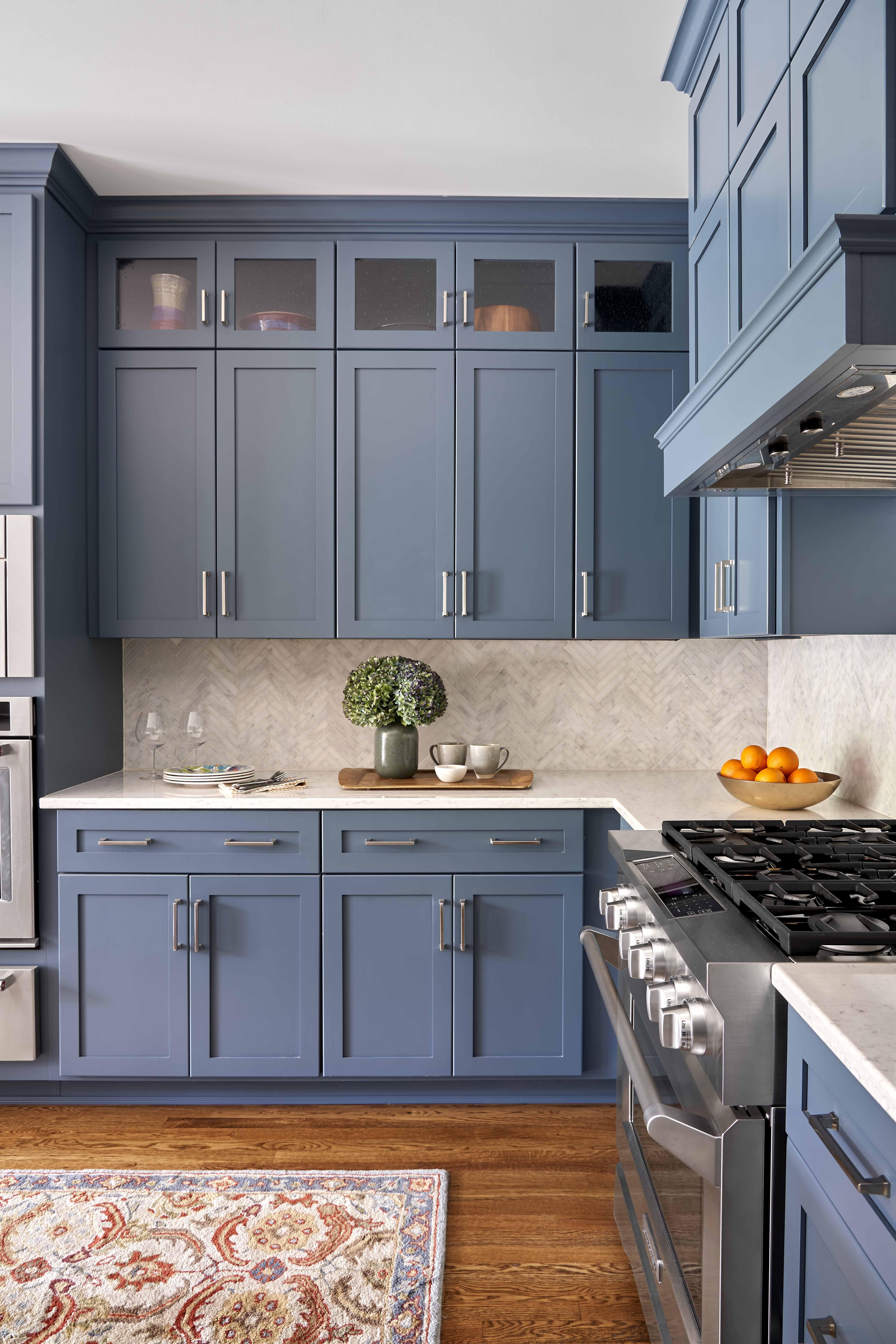 blue cabinets in kitchen   Grey kitchen designs, Kitchen ...