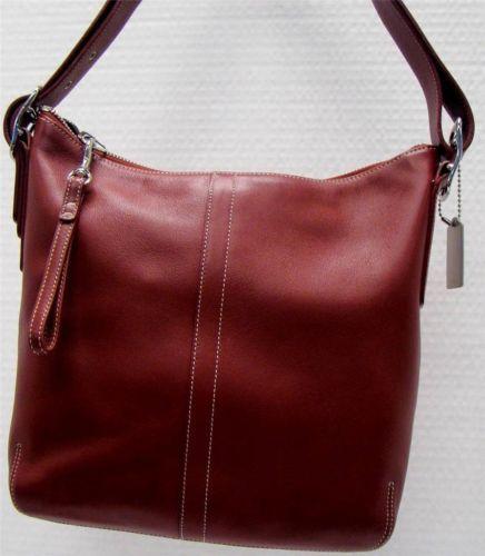 Coach 9326 Red Leather Convertible Slim Duffle Crossbody Shoulder Bag Handbag Ebay