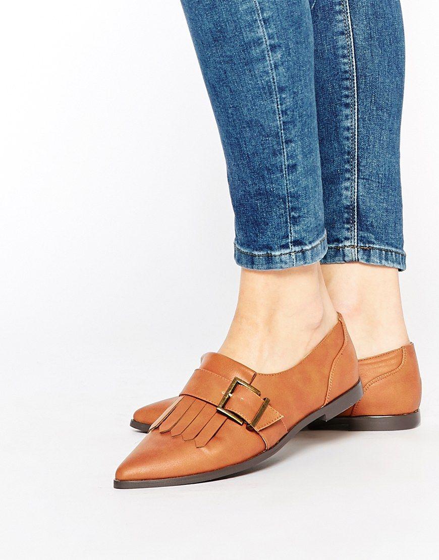 Asos Womens Memo Fringe Flat Shoesr Tan - Flats