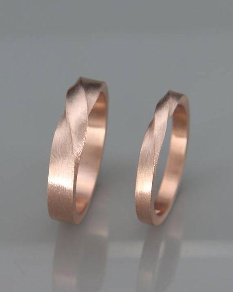 Rose Gold Mobius Hochzeit Band Set | Seine und Ihr Mobius Ring Set aus 14k Rose Gold | Mobius Ehering Set