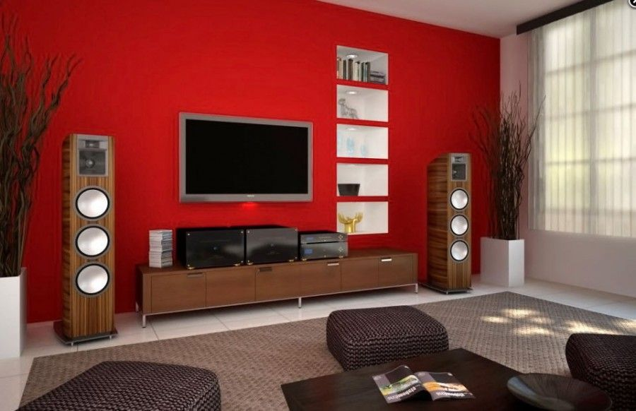 Functional Television with the Greatness of Making Life Easier and Simpler    Modern Living Room Rattan Patterned Sofa TV On The Wall Ideas    cabinet  door. A cherry red accent wall ads to the dramatic  modern feel of this