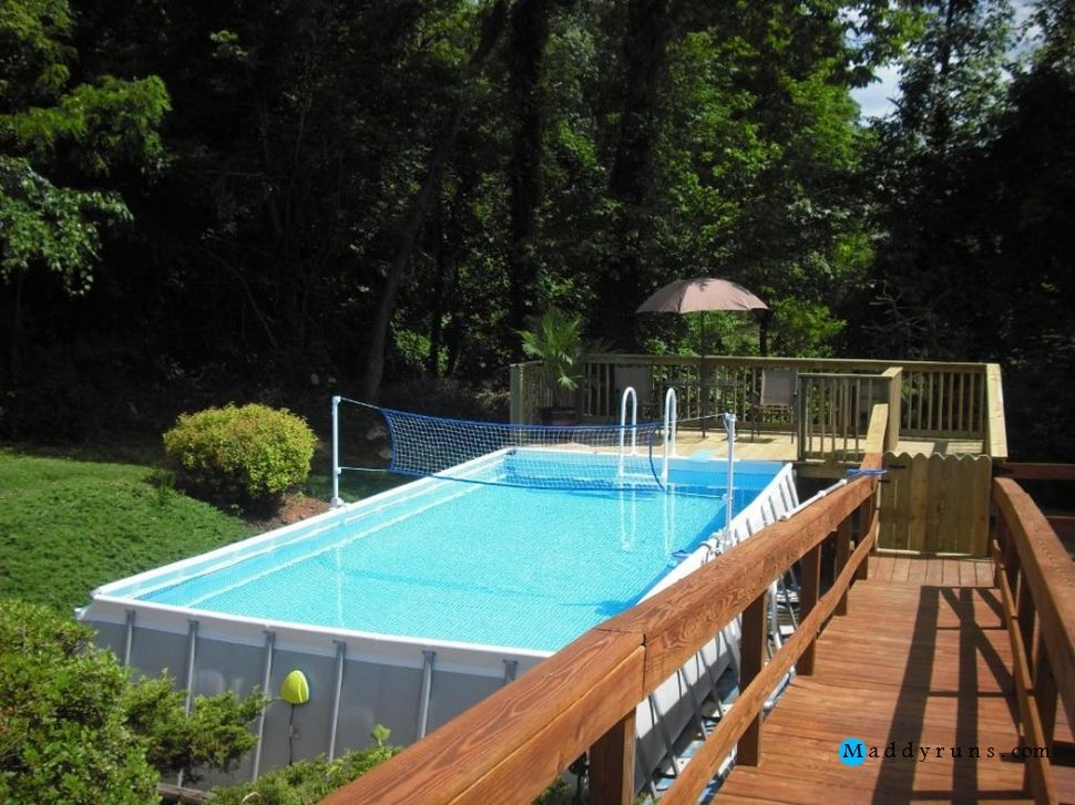Swimming pool pool decks gorgeous intex pools with decks for Above ground pool setup ideas