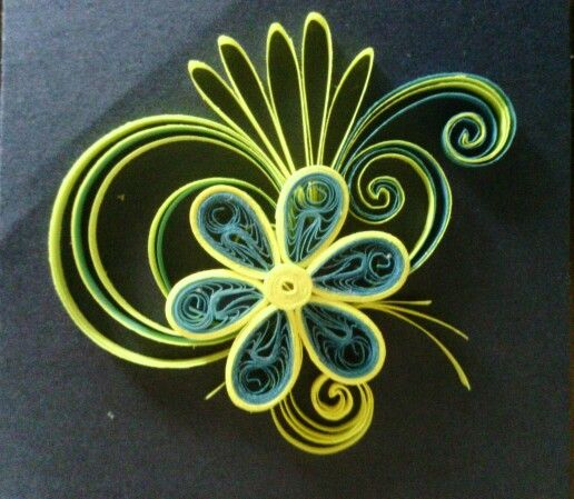 Blue and yellow quilling flower