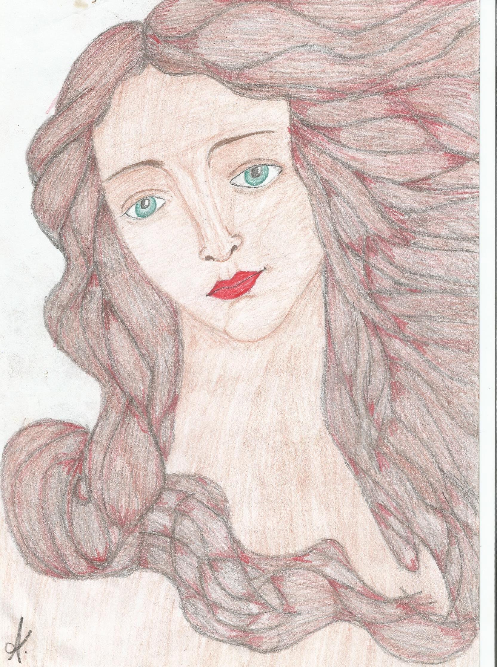 Rosto inspirado no nascimento de Venus de Boctticcelli - Lápis de cor