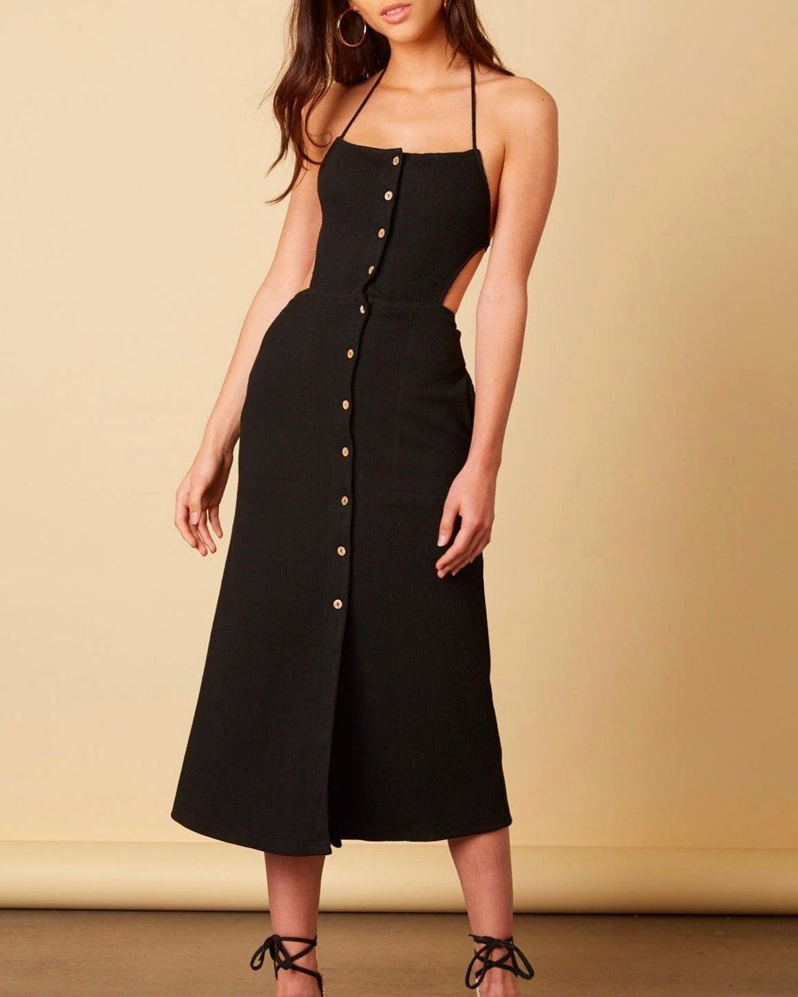 0f80b80823d Cotton candy la - button down midi open back dress - black ...
