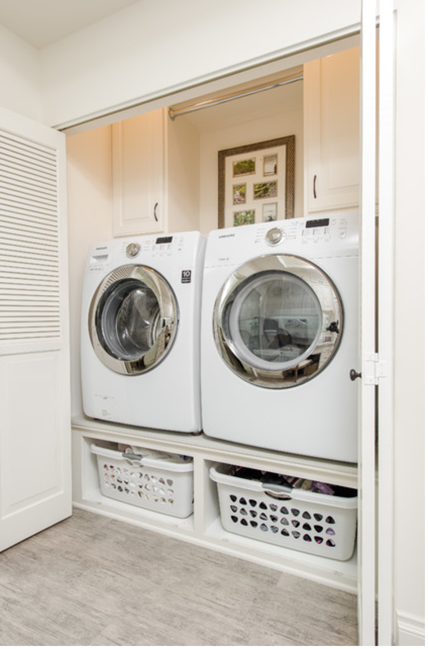 Space For Laundry Basket Under Front Loading Washer And Dryer One