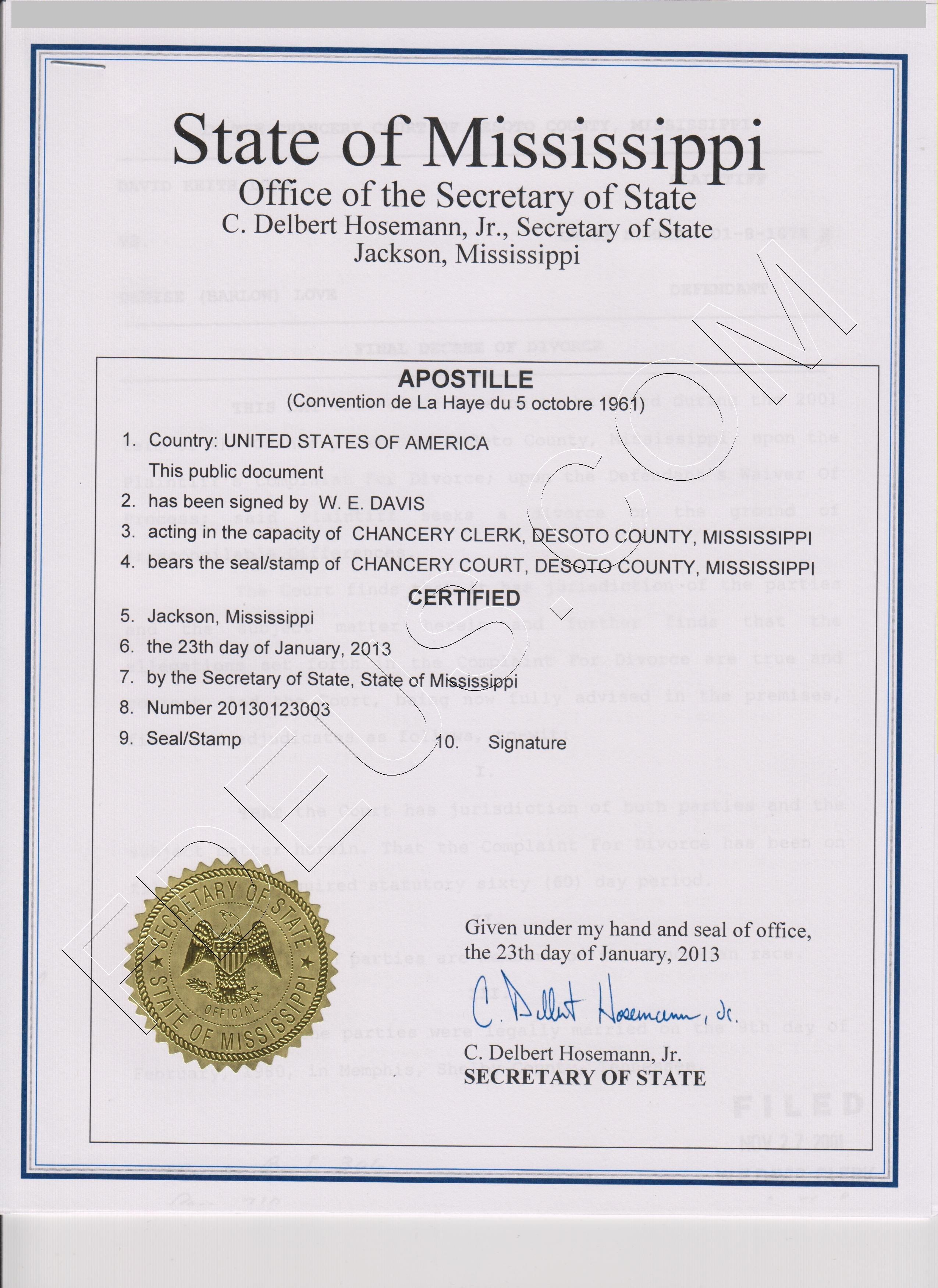 Mississippi Apostille The Following Documents Are Acceptable For