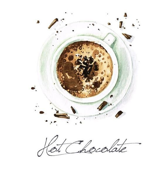 Watercolor Food Painting Hot Chocolate Illustration A-91486 (Art Prints, Wood & Metal Signs, Canvas, #hotchocolatebar