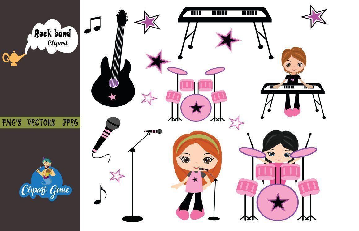 girls rock rock band clipart rockstar clipart rock star graphics girls guitar girl drummer girls music band music clipart drummer [ 1160 x 747 Pixel ]