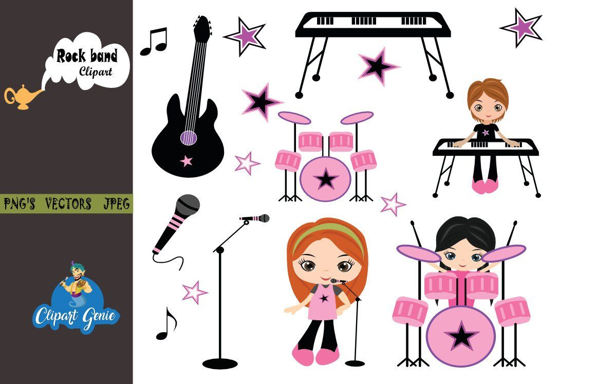 small resolution of girls rock rock band clipart rockstar clipart rock star graphics girls guitar girl drummer girls music band music clipart drummer