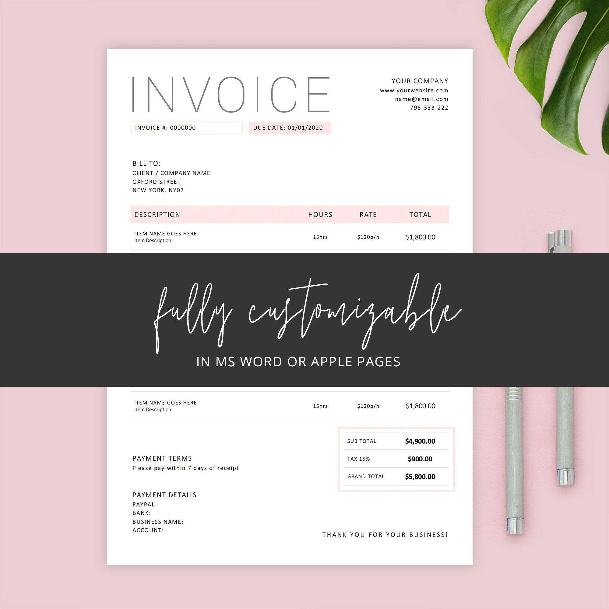 Invoice Template Word Editable Invoice Apple Pages Custom Etsy Photography Invoice Template Photography Invoice Invoice Template Word
