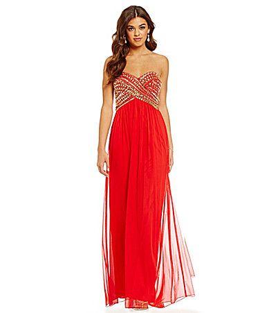 B Darlin Strapless AB Stone Bodice Gown #Dillards | Prom Queen ...