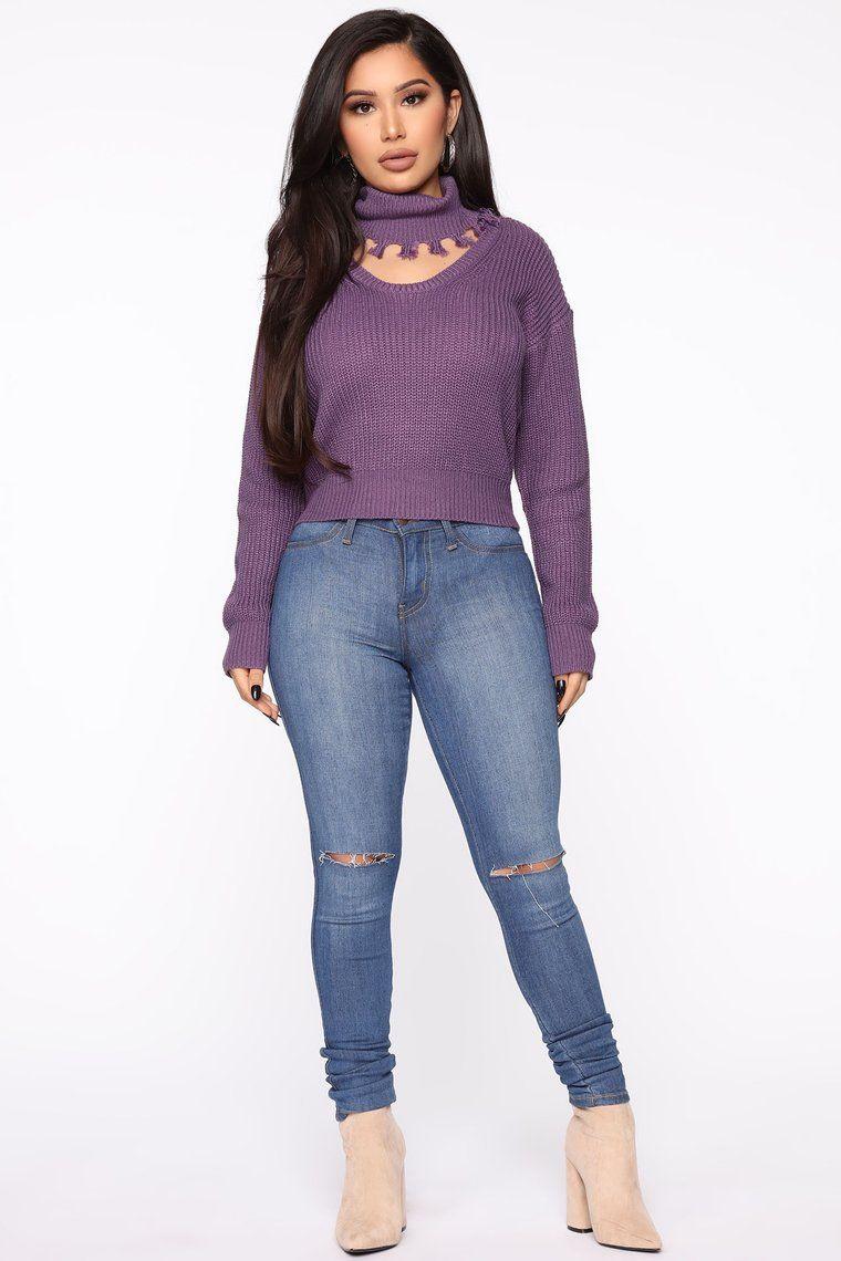 So Close To You Sweater Purple Fashion Nova