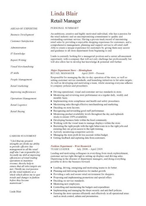 Resume For Retail Store Manager Retail CV Template, Sales Environment,  Sales Assistant CV, Shop .  Sample Retail Manager Resume