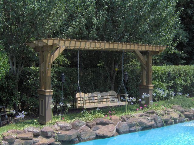 Pergola swing in Sugar Land First Colony   by TexasCustomPatios