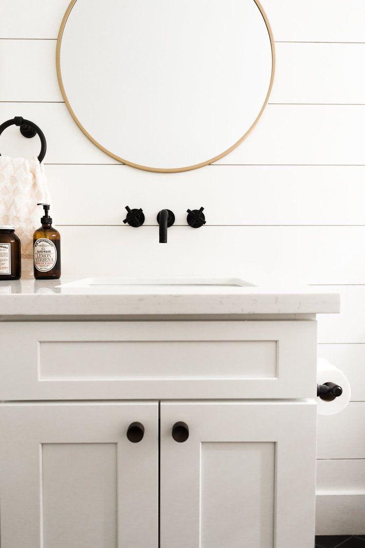 White, Black, and Brass Bathroom | Lexi Grace Design | Pinterest ...