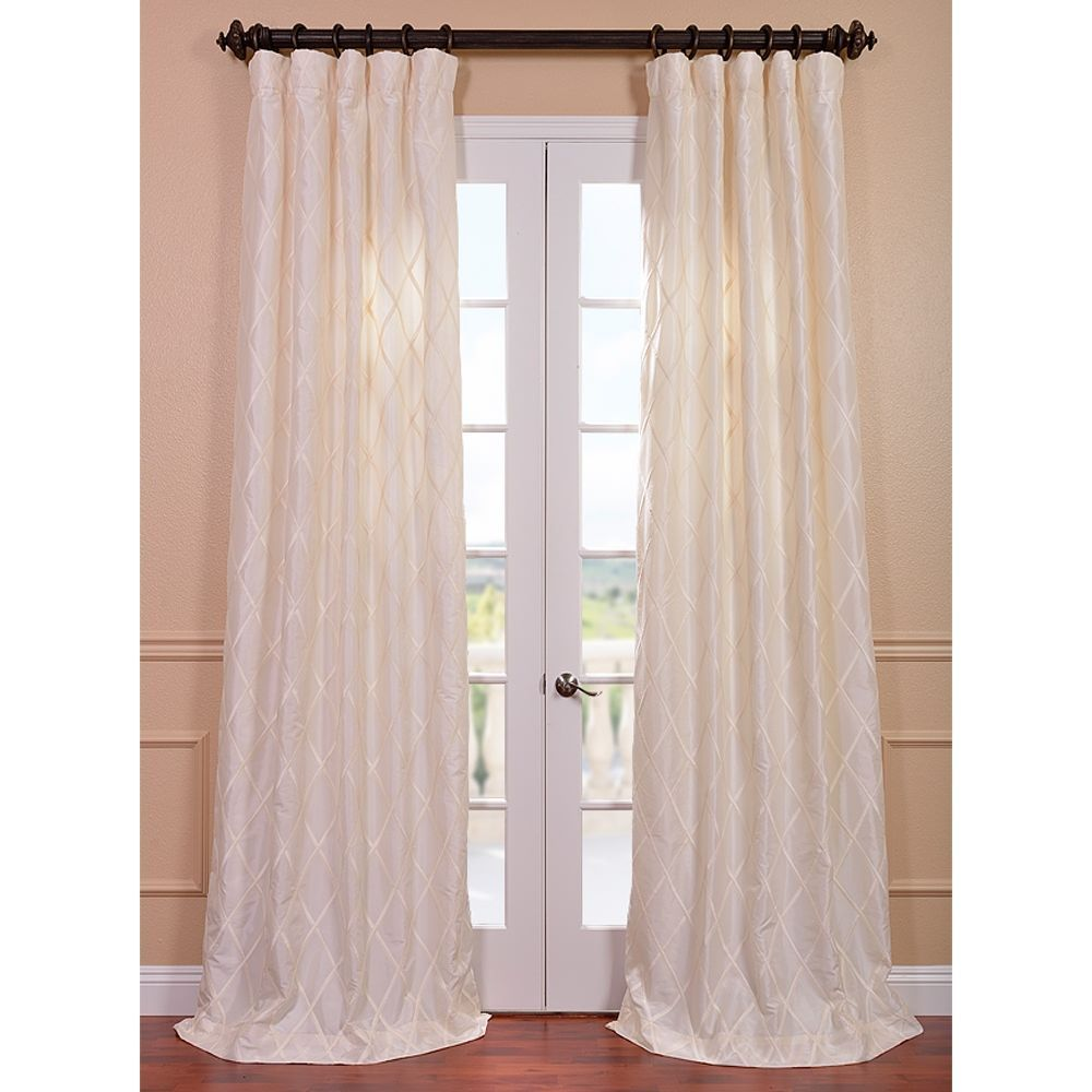 Exclusive Fabrics Patterned Faux Silk 96 Inch Curtain Panel Curtains 50x96 White Size 50 X